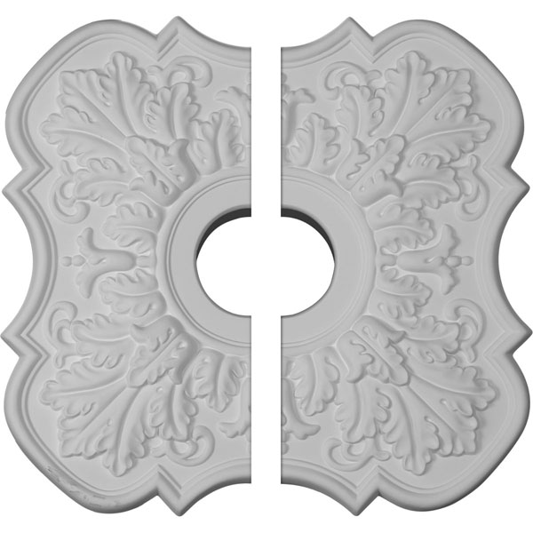 "17 3/4""OD x 3 1/8""ID x 1""P Peralta Ceiling Medallion, Two Piece (Fits Canopies up to 4 5/8"")"