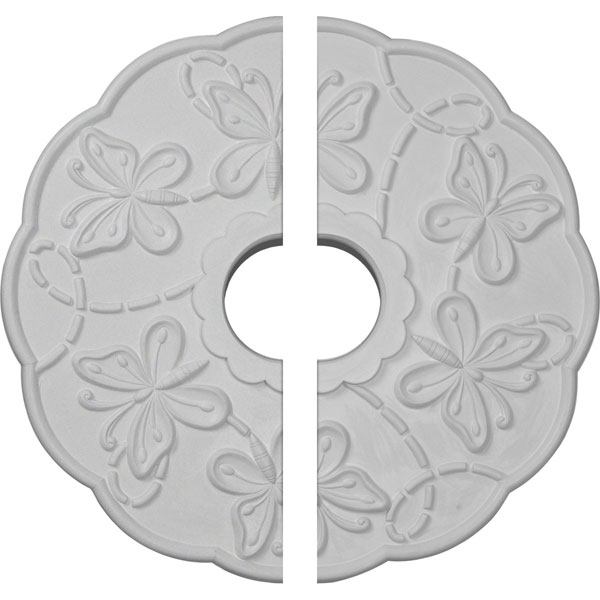 "17 7/8""OD x 3 7/8""ID x 1""P Terrones Butterfly Ceiling Medallion, Two Piece (Fits Canopies up to 3 7/8"")"