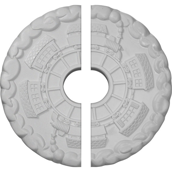 "18 1/2""OD x 3 7/8""ID x 1""P Kendall Train Station Ceiling Medallion, Two Piece (Fits Canopies up to 3 7/8"")"