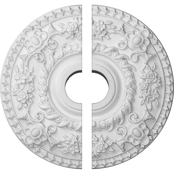 "18""OD x 3 1/2""ID x 1 1/2""P Rose Ceiling Medallion, Two Piece (Fits Canopies up to 7 1/4"")"