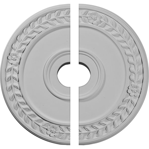 "21 1/8""OD x 3 5/8""ID x 7/8""P Wreath Ceiling Medallion, Two Piece (Fits Canopies up to 6"")"