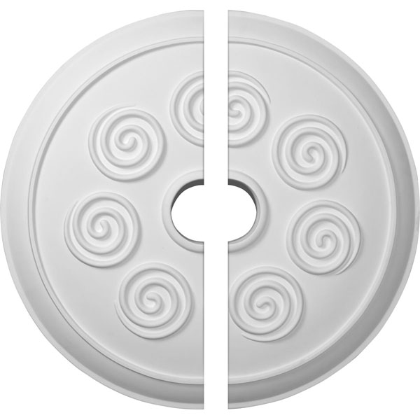 """25 1/4""""OD x 4""""ID x 2""""P Spiral Ceiling Medallion, Two Piece (Fits Canopies up to 4"""")"""