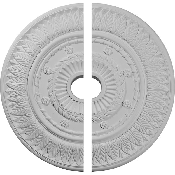 "26 3/4""OD x 3 5/8""ID x 1 1/8""P Leaf Ceiling Medallion, Two Piece (Fits Canopies up to 3 5/8"")"