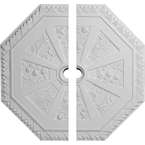 "29 1/8""OD x 2 1/4""ID x 1 1/8""P Spring Octagonal Ceiling Medallion, Two Piece (Fits Canopies up to 3"")"