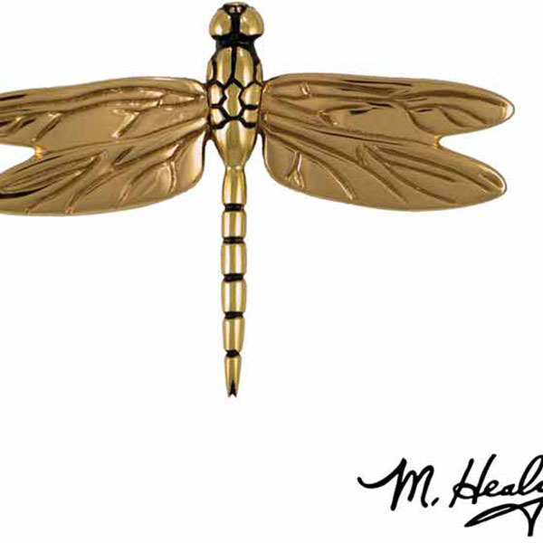 "6 1/4""W x 1""D x 4 1/2""H Michael Healy Dragonfly in Flight Door Knocker, Brass"