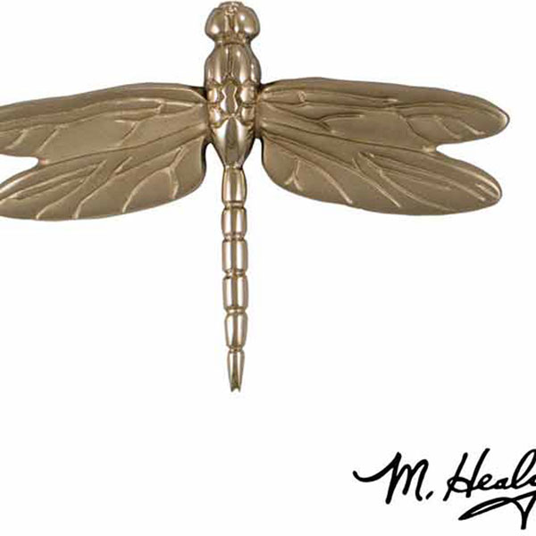 "6 1/4""W x 1""D x 4 1/2""H Michael Healy Dragonfly in Flight Door Knocker, Nickel Silver"