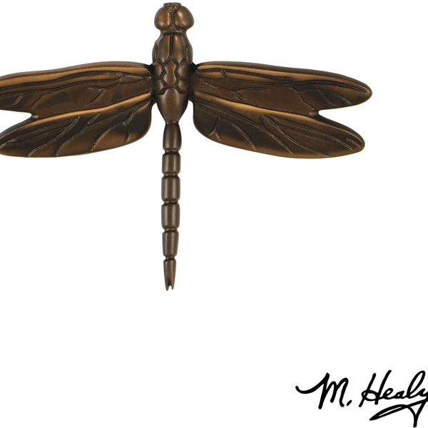 "6 1/4""W x 1""D x 4 1/2""H Michael Healy Dragonfly in Flight Door Knocker, Oiled Bronze"
