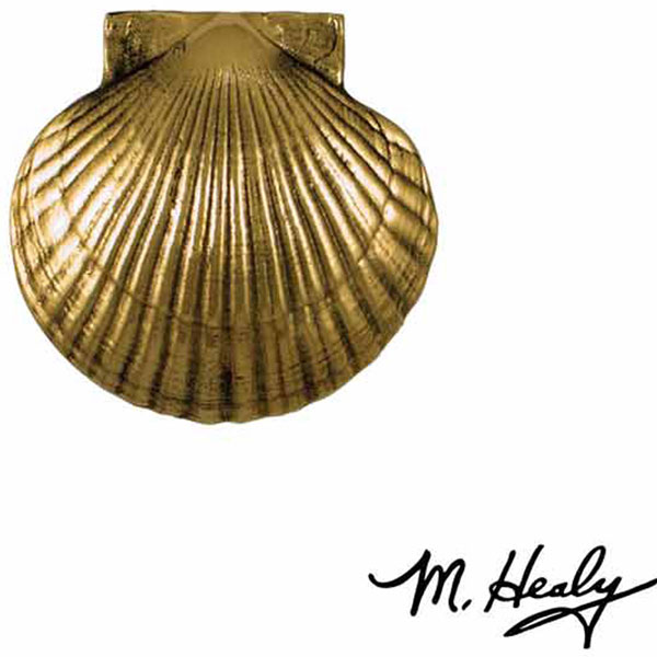 "4""W x 1 1/2""D x 3 3/4""H Michael Healy Sea Scallop Door Knocker, Brass"