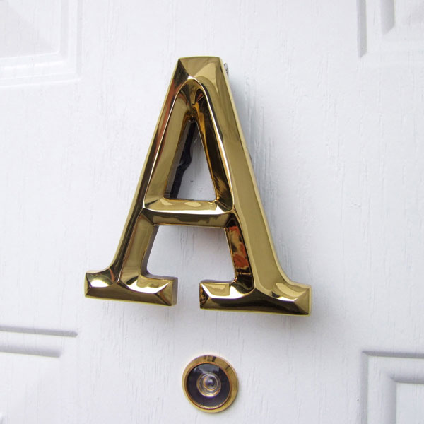 "3 3/4""W x 1 1/4""D x 4""H Michael Healy Letter A Door Knocker, Brass"
