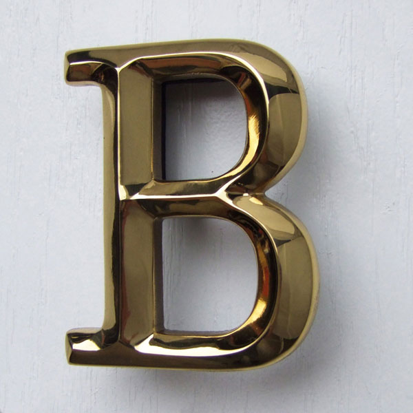 "3""W x 1 1/4""D x 4""H Michael Healy Letter B Door Knocker, Brass"