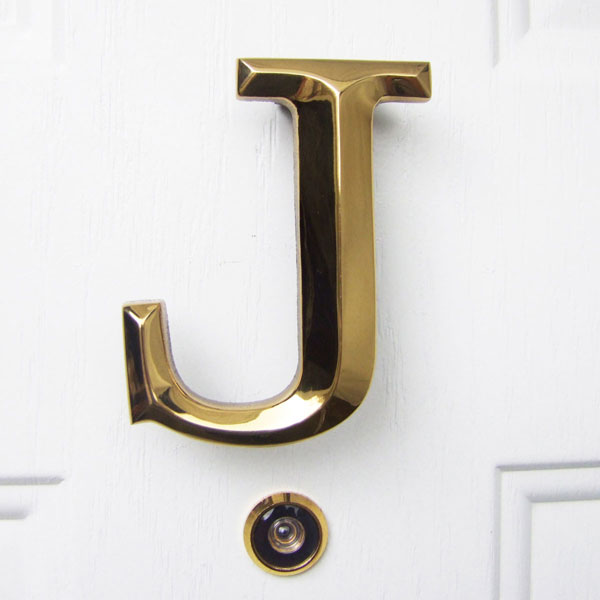 "3 1/4""W x 1 1/4""D x 4""H Michael Healy Letter J Door Knocker, Brass"