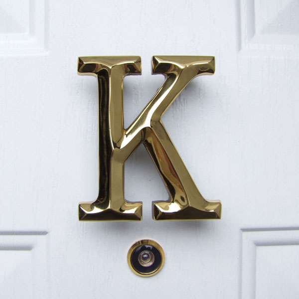 "3 1/4""W x 1 1/4""D x 4""H Michael Healy Letter K Door Knocker, Brass"