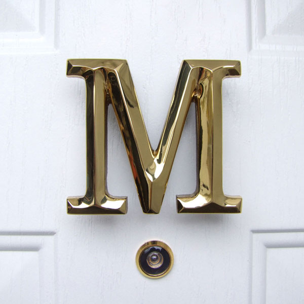 "4""W x 1 1/4""D x 3 1/2""H Michael Healy Letter M Door Knocker, Brass"