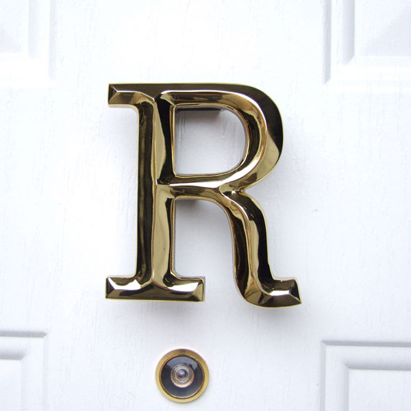 "3 1/2""W x 1 1/4""D x 4""H Michael Healy Letter R Door Knocker, Brass"