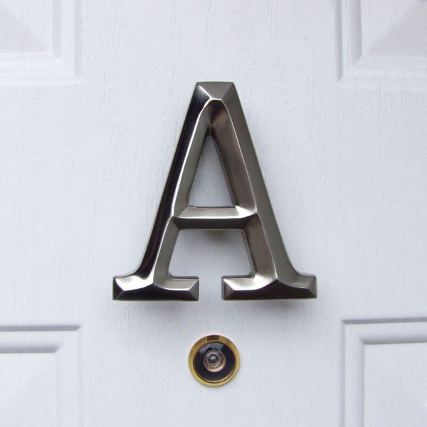 "3 3/4""W x 1 1/4""D x 4""H Michael Healy Letter A Door Knocker, Brushed Nickel"