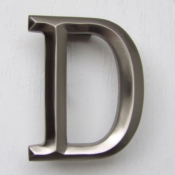 "3""W x 1 1/4""D x 4""H Michael Healy Letter D Door Knocker, Brushed Nickel"