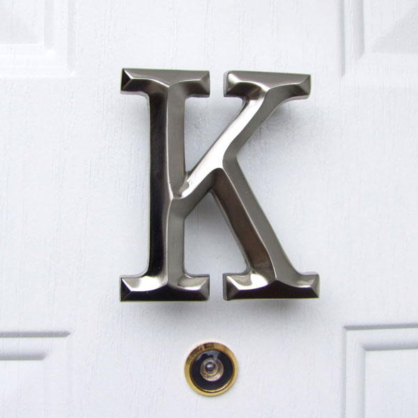 "3 1/4""W x 1 1/4""D x 4""H Michael Healy Letter K Door Knocker, Brushed Nickel"