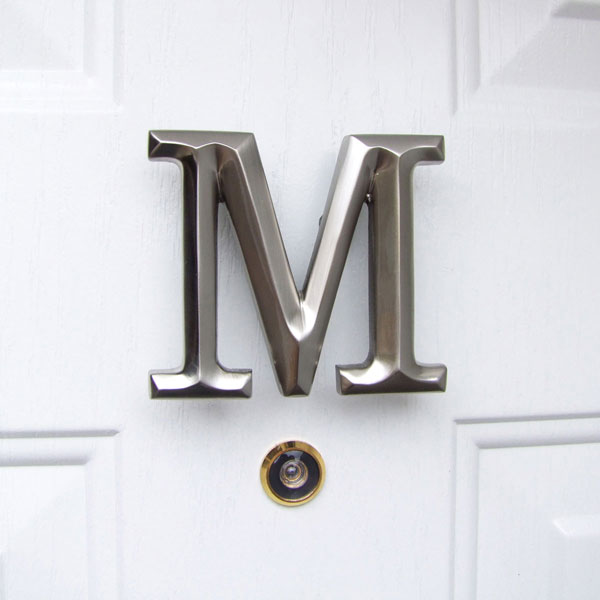 "4""W x 1 1/4""D x 3 1/2""H Michael Healy Letter M Door Knocker, Brushed Nickel"