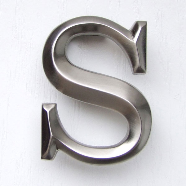 "2 3/4""W x 1 1/4""D x 4""H Michael Healy Letter S Door Knocker, Brushed Nickel"