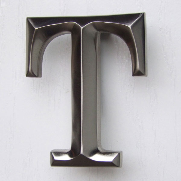 "3""W x 1 1/4""D x 4""H Michael Healy Letter T Door Knocker, Brushed Nickel"