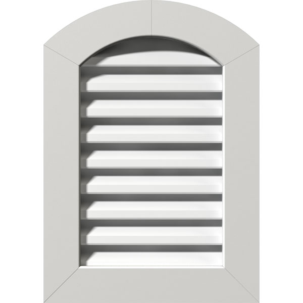 "16""W x 22""H Arch Top Gable Vent (21""W x 27""H Frame Size): Unfinished, Functional, PVC Gable Vent w/ 1"" x 4"" Flat Trim Frame"