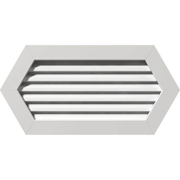 """12""""W x 12""""H Horizontal Peaked Gable Vent (17""""W x 17""""H Frame Size): Unfinished, Functional, PVC Gable Vent w/ 1"""" x 4"""" Flat Trim Frame"""