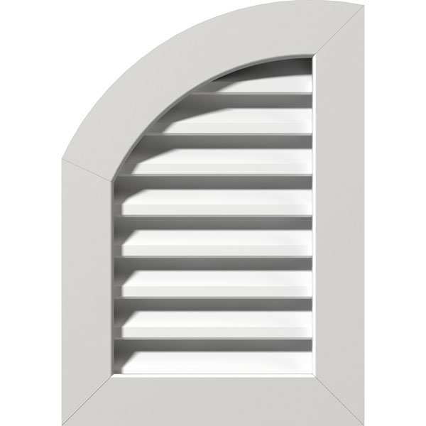 "06""W x 34""H Quarter Round Top Left (11""W x 39""H Frame Size): Unfinished, Functional, PVC Gable Vent w/ 1"" x 4"" Flat Trim Frame"