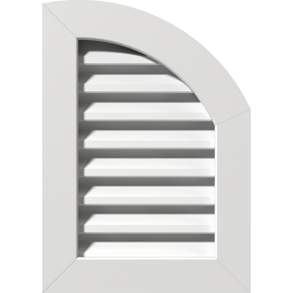 "08""W x 20""H Quarter Round Top Right (13""W x 25""H Frame Size): Unfinished, Functional, PVC Gable Vent w/ 1"" x 4"" Flat Trim Frame"