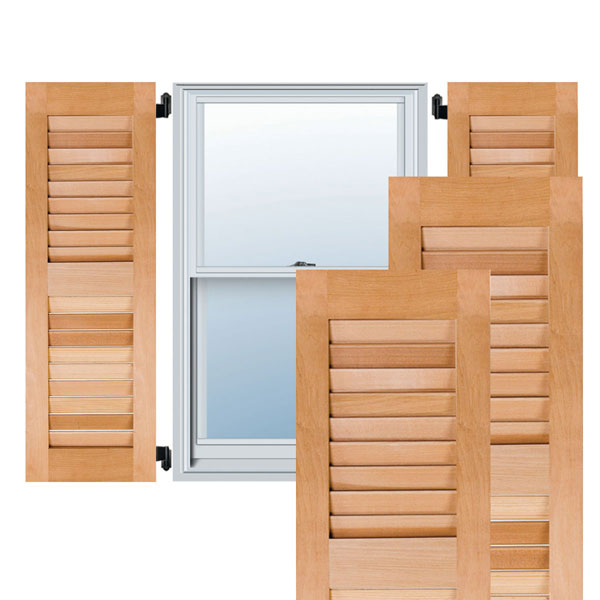 Unfinished 15W x 61H Per Pair Ekena Millwork RWL15X061UNP Exterior Real Wood Pine Louvered Shutters
