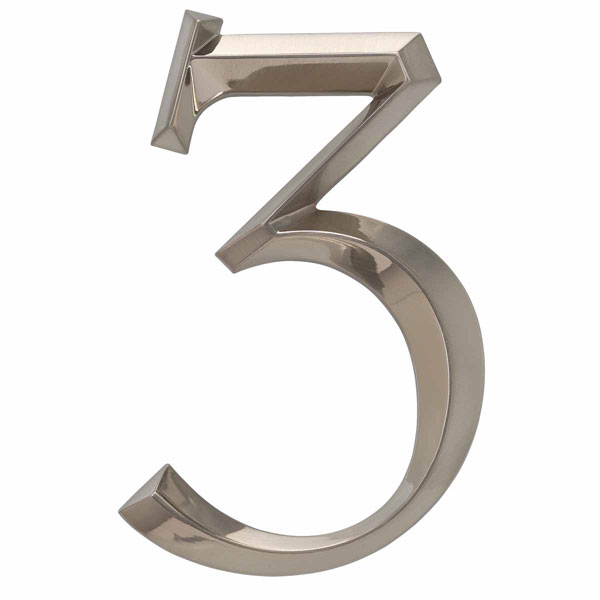 "4""L x 1/2""W x 6""H Classic Number 3, Polished Nickel"