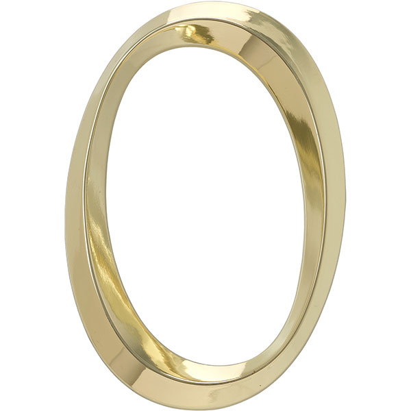"4""L x 1/2""W x 6""H Classic Number 0, Polished Brass"