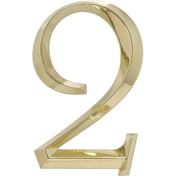 "4""L x 1/2""W x 6""H Classic Number 2, Polished Brass"