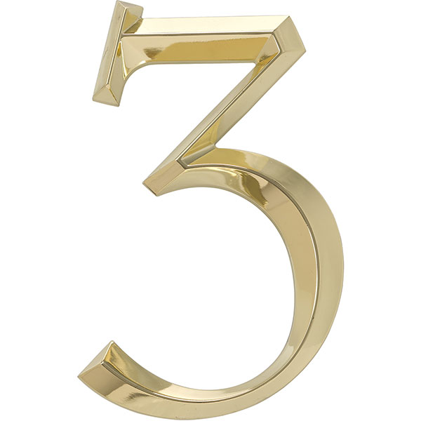 "4""L x 1/2""W x 6""H Classic Number 3, Polished Brass"