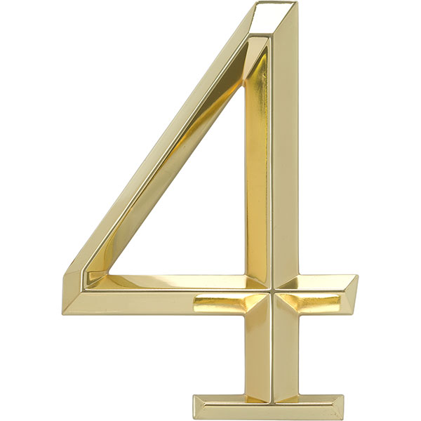 "4""L x 1/2""W x 6""H Classic Number 4, Polished Brass"