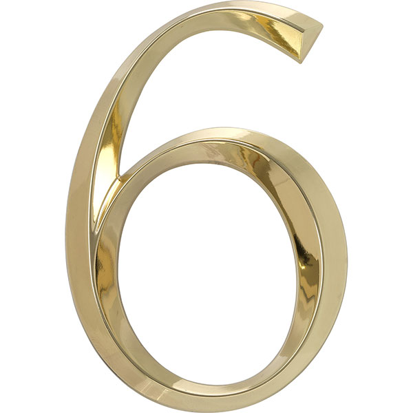 "4""L x 1/2""W x 6""H Classic Number 6, Polished Brass"