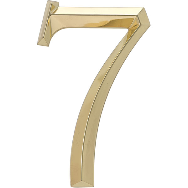 "4""L x 1/2""W x 6""H Classic Number 7, Polished Brass"