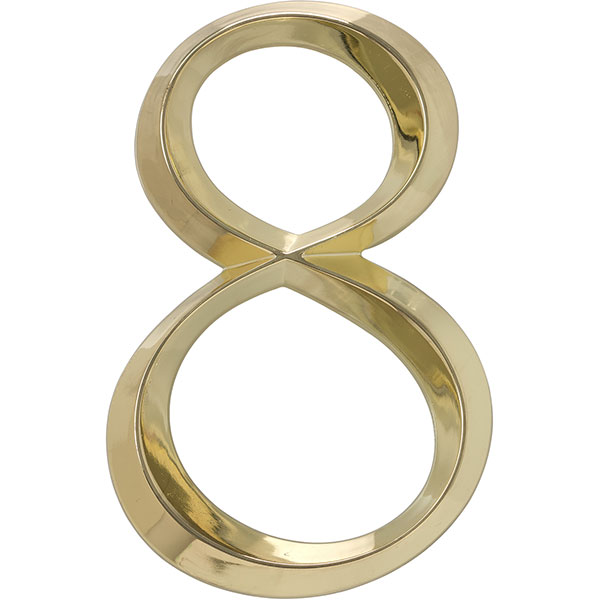 "4""L x 1/2""W x 6""H Classic Number 8, Polished Brass"