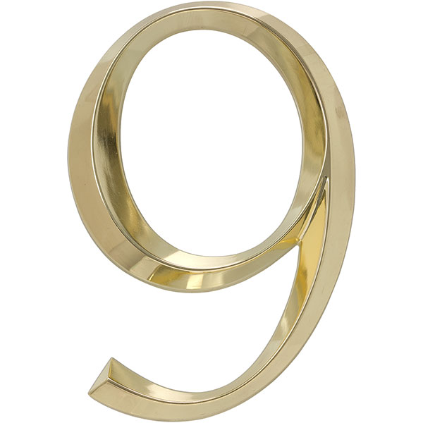 "4""L x 1/2""W x 6""H Classic Number 9, Polished Brass"