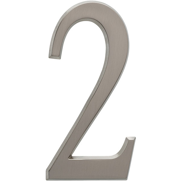 "1 3/4""L x 1/2""W x 4 3/4""H Number 2, Brushed Nickel"