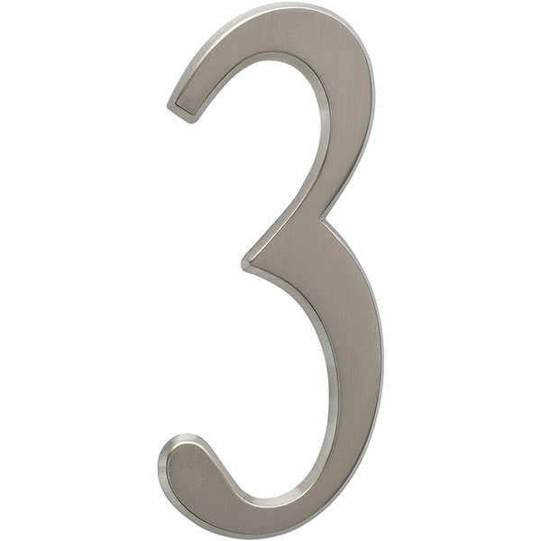 "1 3/4""L x 1/2""W x 4 3/4""H Number 3, Brushed Nickel"