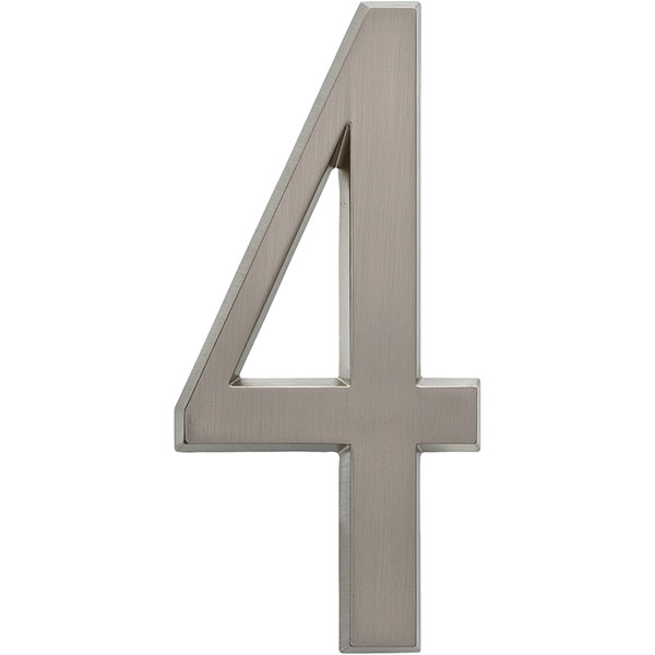 "1 3/4""L x 1/2""W x 4 3/4""H Number 4, Brushed Nickel"