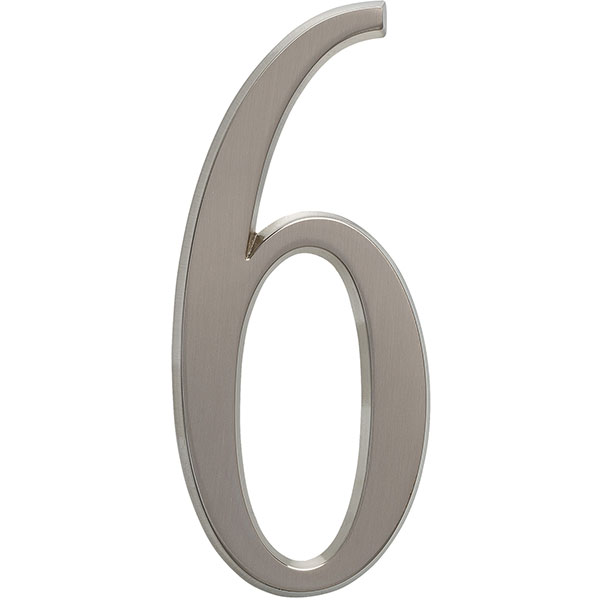 "1 3/4""L x 1/2""W x 4 3/4""H Number 6, Brushed Nickel"