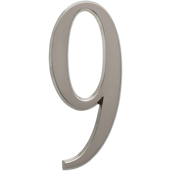 "1 3/4""L x 1/2""W x 4 3/4""H Number 9, Brushed Nickel"
