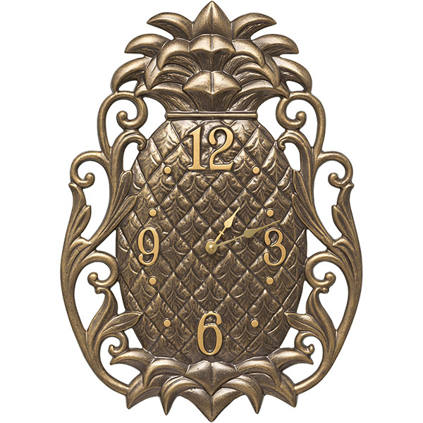"13 1/2""L X 18 3/4""W X 1 1/4""H Pineapple Scroll Wall Clock, French Bronze"