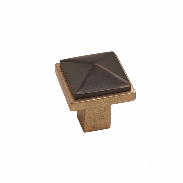 Edge Two-Tone Style, Bronze Contemporary Square Pyramid Knob