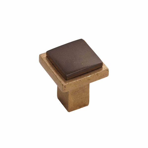 Angle Two-Tone Style, Bronze Contemporary Square Flat Knob