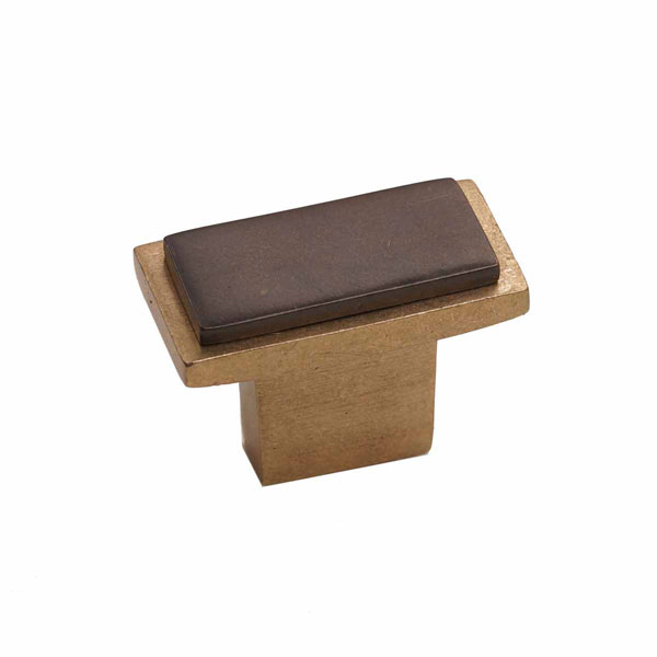 "1 1/2""W x 3/4""H x 1 1/2""P Angle Two-Tone Style, Bronze Contemporary Rectangular Knob"