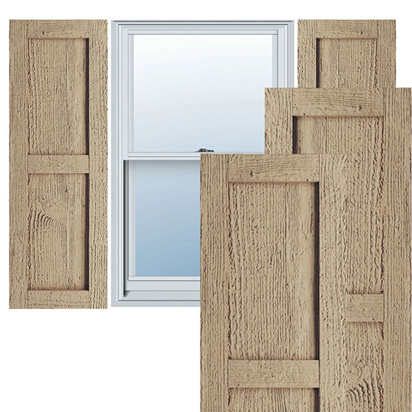 Rustic Two Equal Panel Flat Panel Faux Wood Shutters (Per Pair)