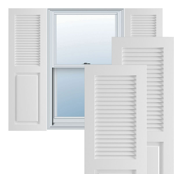 True Fit PVC Combination Louver/Panel Shutters (Per Pair)