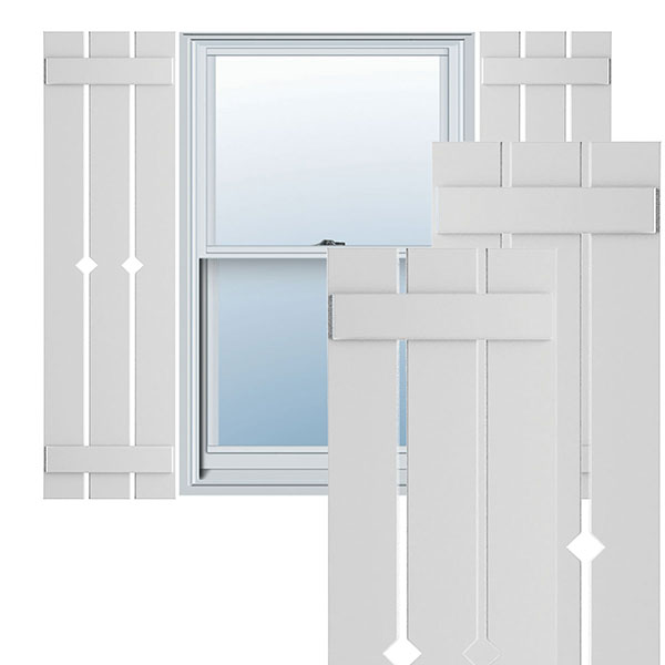 True Fit PVC Spaced w/Diamond Board-n-Batten Shutters (Per Pair)
